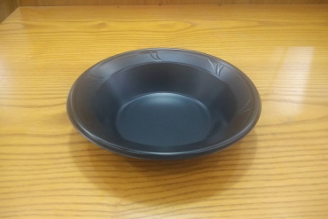 Black plastic bowl