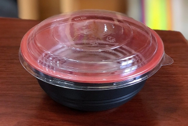 Plastic bowl containing food